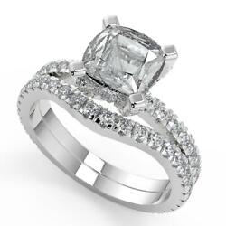 2.2 Ct Princess Cut Micro French Pave Classic Diamond Engagement Ring Set Si2 H