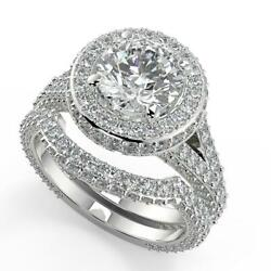 2.95 Ct Round Cut 3 Row Pave Diamond Engagement Ring Set Si2 D White Gold 18k