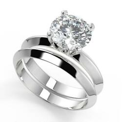 0.9 Ct Round Cut Knife Edge 4 Prong Solitaire Diamond Engagement Ring Set Vs2 H