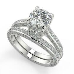 3.25 Ct Round Cut Micro Pave Double Prong Diamond Engagement Ring Set Si2 G 14k