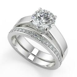 1.7 Ct Round Cut 4 Prong Solitaire Diamond Engagement Ring Set Si1 G White Gold