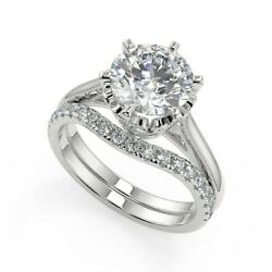 1.35 Ct Round Cut 6 Claw Crown Solitaire Diamond Engagement Ring Set Vs2 F 14k