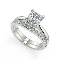 1.5 Ct Princess Cut Squared 4 Claw Solitaire Diamond Engagement Ring Set Vs2 D