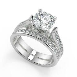 2.45 Ct Round Cut 4 Prong Channel Set Diamond Engagement Ring Set Si1 G 18k