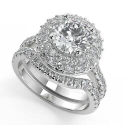 2.65 Ct Round Cut Double Halo Pave Diamond Engagement Ring Set Si2 G White Gold