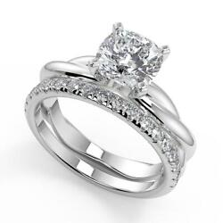 2.2 Ct Cushion Cut Infinity Solitaire Rope Diamond Engagement Ring Set Si2 D 18k