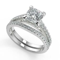 1.85 Ct Cushion Cut 4 Prong Cathedral Pave Diamond Engagement Ring Set Si2 F 14k