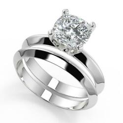 1 Ct Cushion Cut Knife Edge 4 Prong Solitaire Diamond Engagement Ring Set Si1 F