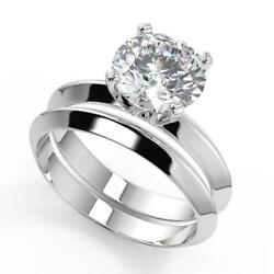 0.8 Ct Round Cut Knife Edge 4 Prong Solitaire Diamond Engagement Ring Set Vs1 H