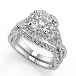 2 Ct Round Cut Micro Pave Halo Infinity Diamond Engagement Ring Set Si2 D 14k