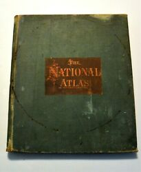 National Atlas 1884 United States Canada World Cities Railways 159 Color Maps