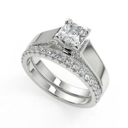 1.5 Ct Cushion Cut Cathedral Solitaire Diamond Engagement Ring Set Vs2 F 18k
