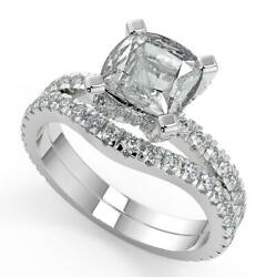 2.2 Ct Princess Cut Micro French Pave Classic Diamond Engagement Ring Set Si2 F