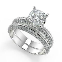 2 Ct Cushion Cut Knife Edge Pave Double Sided Diamond Engagement Ring Set Si2 D