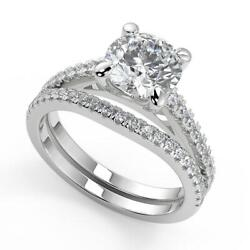 1.85 Ct Round Cut 4 Prong Cathedral Pave Diamond Engagement Ring Set Si2 F 14k