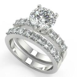 1.9 Ct Round Cut Shared Prong Assher Accents Diamond Engagement Ring Set I1 H