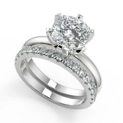 1.55 Ct Cushion Cut 6 Prong Solitaire Diamond Engagement Ring Set Si1 F 18k