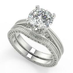 1.5 Ct Round Cut Hand Engraved 4 Prong Diamond Engagement Ring Set Si2 H 18k