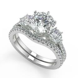 2.55 Ct Round Cut 3 Stone French Pave Diamond Engagement Ring Set Si2 F 14k