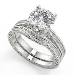 1.25 Ct Round Cut Hand Engraved 4 Prong Diamond Engagement Ring Set Si1 G 18k