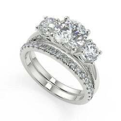 2.05 Ct Round Cut 3 Stone Solitaire Diamond Engagement Ring Set Vs2 H White Gold