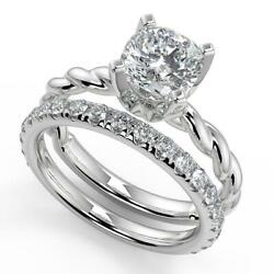 1.95 Ct Cushion Cut Twisted Rope Solitaire Diamond Engagement Ring Set Si2 H 18k
