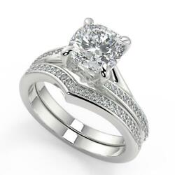 1.9 Ct Cushion Cut Bypass Micro Pave Modern Diamond Engagement Ring Set Vs1 F