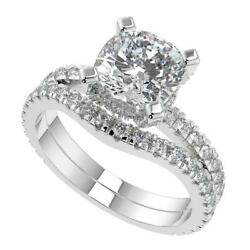 1.85 Ct Cushion Cut Micro French Pave Classic Diamond Engagement Ring Set Si2 D