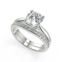 1.35 Ct Round Cut Squared 4 Claw Solitaire Diamond Engagement Ring Set Vvs2 F