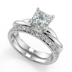 1.7 Ct Princess Cut Infinity Solitaire Rope Diamond Engagement Ring Set Si2 G