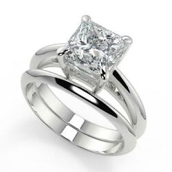 1 Ct Princess Cut 4 Prong Solitaire Diamond Engagement Ring Set Si1 F White Gold