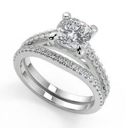 1.85 Ct Cushion Cut 4 Prong Cathedral Pave Diamond Engagement Ring Set Si2 G 18k