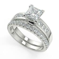 1.85 Ct Princess Cut Four Prong Channel Set Diamond Engagement Ring Set Si1 D