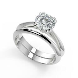 1 Ct Round Cut Double Prong Solitaire Diamond Engagement Ring Set Si2 D 14k