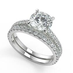 2.1 Ct Round Cut Classic 4 Prong Diamond Engagement Ring Set Si2 H White Gold