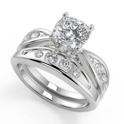 1.45 Ct Cushion Cut Inset 4 Prong Diamond Engagement Ring Set Si1 D White Gold