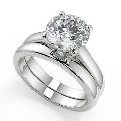 2.75 Ct Round Cut 4 Prong Basket Solitaire Diamond Engagement Ring Set Si2 H 14k