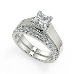 1.5 Ct Princess Cut Cathedral Solitaire Diamond Engagement Ring Set Vs2 F 18k