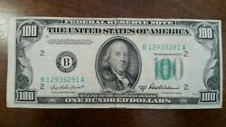 1950 B Off Center 100 Bill One Hundred Dollar Federal Reserve Note B129355291a