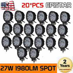 20x 27w 4inch Round Led Work Light Offroad Fog Pods Driving Drl Suv Truck Lamp