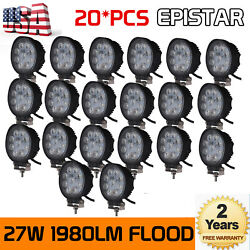 20x 27w Led Work Light Offroad Flood Round Truck Bumper Pods Cube Driving 1980lm