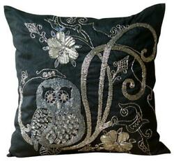 Decorative 12x12 Inch Couch Pillow Cover Silk Black Owl Beaded - Night Owls