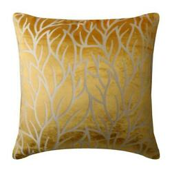 Mimosa Yellow Decorative Pillow 18x18 inch Burnout Velvet Mimosa Yellow Leaves