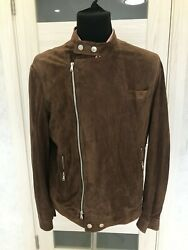 Rrp 3900 Brunello Cucinelli Perforated Moto Leather Suede Bomber Coat Jacket