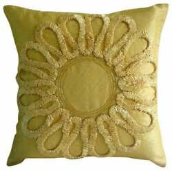 22x22 Inch Handmade Silk Pillow Cover Gold Ribbon Embroidery - We All Blossom