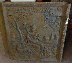 Antique Cast Iron Stove Plate Relief Shepard Holding Cross Sheep Church