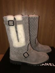 Nib Shearling Boots Gray Suede Made In Italy. Sz. 39.5