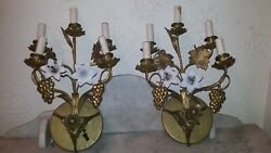 Pair French 5 Branches Brass Bronze Wall Sconces Lamps Milk Glass Flowers Brass