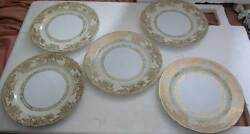 A Lovely 5 Big Dinner Porcelain Plates By Noritake No 61640