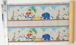 Vintage Wallpaper Border for Kids Room Noah#x27;s Ark w Lots of Animals Large Roll